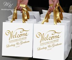 25 Wedding welcome Bags for wedding guests with Gold satin