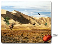 Mouse Mat great computer pad office accessories computer desk accessory best mouse pad Computer Mouse Photo mouse pad Nature Images Amazingly picture beautiful photo of a Nature Landscape desert oases, desert mountains, palm trees, and galloping horses, blue sky and the King Eagle spectacular show of Aviation. - Beauty gifts for Home decor or Office decor adds charm to your home office or workplace