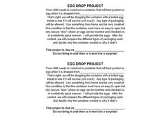 The Great Egg Drop Engineering Project  Science    Egg
