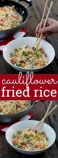 This paleo Cauliflower Fried Rice recipe is easy to make and packed with flavor from crispy prosciutto, sweet pineapple, and coconut aminos. Whole30 approved. | @dreeciotti