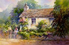 Roland Lee    WATERCOLOR               Dove Cottage in Grasmere England