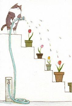 Tulips by Kitagawa Natsumi Cat Art, Art Illustrations, Good Things, Drawings… Animals Watercolor, Art Mignon, Cat Drawing, Children's Book Illustration, Crazy Cats, Cat Art, Illustrations Posters, Tulips, Illustrators