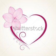Abstract floral background. Vector heart with flower lily.