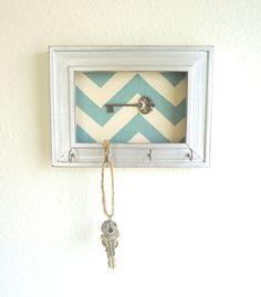 Key Holder-Hook Organizer Frame Chevron Silver Weathered 5 Silver Hooks- House warming gift-Home decor -Ready to Ship. $17.50, via Etsy.