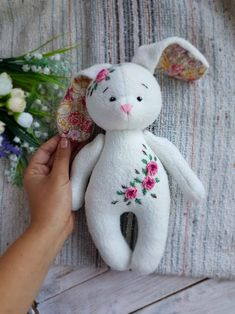 Embroidered rag doll, Fleece toy for children Easter Bunny with embroidery flowers Fleece toy for children Easter Bunny with embroidery flowers Plushie Patterns, Doll Patterns, Fabric Doll Pattern, Bear Patterns, Bunny Plush, Bunny Toys, Fabric Toys, Paper Toys, Cute Stuffed Animals