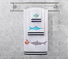 Pottery Barn Kids offers a great range of bath towels & kids bath towels plus a whole lot more! Bathroom Towels, Bath Towels, Bath Mat, Sea Shark, Sharks For Kids, Baby Bath Toys, Towel Storage, Luxury Towels, Kids Bath