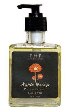 FarmHouse Fresh Agave Nectar Body Oil.       A powerful anti-aging/massage oil, rich with extracts. This light body oil is infused with Agave plant extracts, Sandalwood, Barley and Amurense Bark – a combination that has been proven to significantly improve skin's trans epidermal water loss, resulting in a hydrated, plumper, less wrinkled appearance. The mild milk and oat scent is so mild, yet sweet and scrumptious.    Contains NO Parabens, SLS, or Mineral Oil.