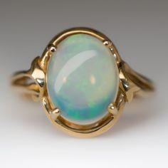 Natural Crystal Opal Gemstone Ring 14K Gold