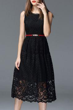 Oserjep Negro ahueca hacia fuera el vestido sin mangas | Midi vestidos en DEZZAL