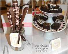 Whimsical dessert table. Chocolate covered pretzels - mason jars