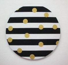 SALE -- Mouse Pad mouse pad / Mat - Black and white stripes with gold Metallic dots - round or rectangle - office accessories desk home d Office Accessories, Home Decor Accessories, Decorative Accessories, Computer Accessories, Home Office, Office Spaces, Office Cubicle, Office Chic, Black White Stripes