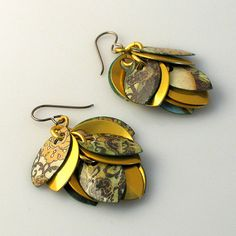 Gold Dangle Earrings Patterned by Petals2Metal on Etsy, $65.00