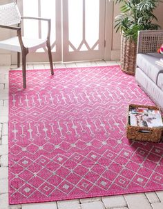 Unique Loom Outdoor Trellis Collection Tribal Geometric Transitional Indoor and Outdoor Flatweave Magenta Area Rug 0 x Shed Colours, Colors, Trellis Rug, Buy Rugs, Indoor Outdoor Area Rugs, Pink Rug, Modern Rugs, Magenta, Pink Beige