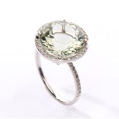 Round Green Amethyst Diamond Halo Ring CHRISTINE K JEWELRY (£345) ❤ liked on Polyvore featuring jewelry, rings, halo diamond ring, green amethyst jewelry, green amethyst ring, round ring and round halo diamond ring