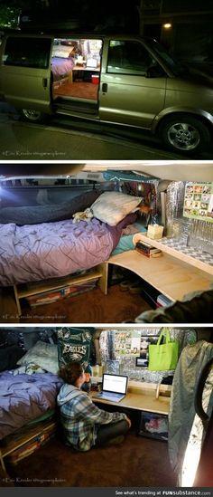 Van converted to dorm room <-- Living in a van by the river got a HUGE upgrade...