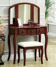 Take a look at this Cherry Classic-Style Vanity & Stool Set by Furniture of America on #zulily today!