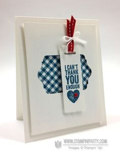 handmade thank-you card from stampinup pretty by  Mary Fish ...  chalk talk sentiment ... negative die cut space ... sentiment on bookmark tag ... luv the crisp look of white with blue gingham patterned paper ... spots of red in ribbon and candy dot ... like this card!! ...  Stampin' Up!