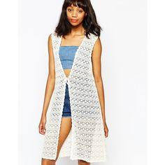 Monki Boho Crochet Cardigan ($22) ❤ liked on Polyvore featuring tops, cardigans, off white, boho chic tops, off white cardigan, monki, deep v neck top and boho cardigan