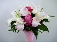 Oriental Lily Bridesmaids Bouquet | Lily Bouquets Lily Bouquet Wedding, Lily Wedding, Bridesmaid Bouquet, Bridesmaids, Oriental Lily, Flowers, Plants, Bridesmaid Corsage, Planters