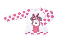 Camiseta para niña, con estampado de Minnie al frente y estampado de lunares fuchsia en las mangas.