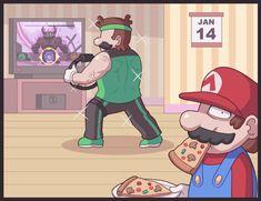 Mario And Luigi Games, Super Mario And Luigi, Super Mario Art, Video Games Funny, Funny Games, Mario Brothers, Mario Bros, Mario Funny, Luigi And Daisy