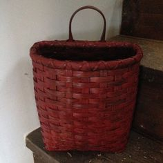 Large Peg Basket by JoannasCollections on Etsy Old Baskets, Vintage Baskets, Baskets On Wall, Hanging Baskets, Wicker Baskets, Painted Baskets, Primitive Antiques, Front Door Decor, Flower Basket