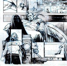 Cómic Page by Olivier Coipel Comic Book Layout, Comic Book Pages, Comic Book Artists, Comic Artist, Comic Books Art, Marvel Comics Art, Manga Comics, Monochromatic Art, Comic Panels