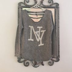 NY sweater Gray sweater w/white NY. Back side is ripped up. Sweaters Crew & Scoop Necks