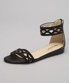 Take a look at the Black Cutout Sassy Sandal on #zulily today!