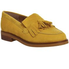Office Extravaganza Loafers ($93) ❤ liked on Polyvore featuring shoes, loafers, flats, mustard suede, women, woven leather shoes, loafer shoes, leather flats, mustard flats and leather tassel loafers