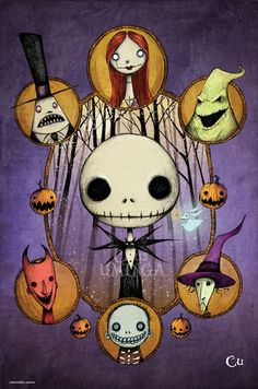 New Nightmare Before Xmas Piece.  11x17 ink on paper ( lots nad lots of hatching ) colored in photoshop