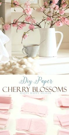 Make these easy DIY paper cherry blossom flowers. These spring paper flowers look so real and you'll love these flowers for years to come. This craft is so inexpensive to make and is easy as well. #spring #diy #decor #happyhappynester #flowers