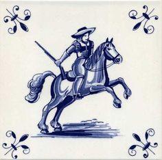 Oud-Hollandse Tegel, man te paard, Delfts blauw