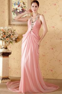 Watermelon Halter Maxi Evening Dresses with Beading and Ruche