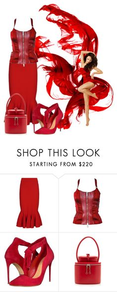 """""""Extravaganza Red"""" by sofiacalo ❤ liked on Polyvore featuring Jonathan Simkhai, Versace, Schutz and Maison Margiela"""