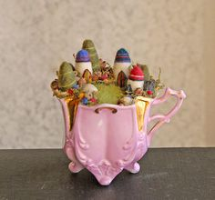 Tiny Fairy Houses and Village, Waldorf Fairy Garden in a Cup, Needle Felted on Etsy, $77.05 CAD