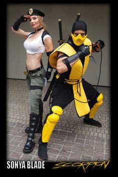 "Deanna and Dan (""Danquish"") Krahn-Sarkar cosplaying as (respectively) Sonya Blade and Scorpion from Mortal Kombat Epic Cosplay, Cosplay Girls, Cosplay Costumes, Halloween Costumes, Cosplay Ideas, Costume Ideas, Mortal Kombat Cosplay, Scorpion Mortal Kombat, Street Fighter Tekken"
