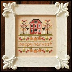 """""""Happy Harvest"""" is the title of this cross stitch pattern from Country Cottage Needleworks that is stitched with Crescent Colors (Magnolia B..."""