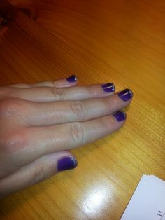 Grape gum purple shellac with tips painted in ice vapor shellac