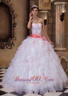 Popular Brand New White Quinceanera Dress Strapless Organza Embroidery Ball Gown