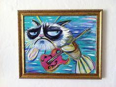 Grumpy Cat Phish(Grumpy Cat)/Tartar Sauce/ Cats/ Bollen. $42.00, via Etsy.