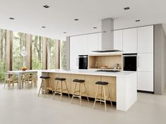 Hall with kitchen design kitchen scandinavian with native tress natural light porcelian tiles