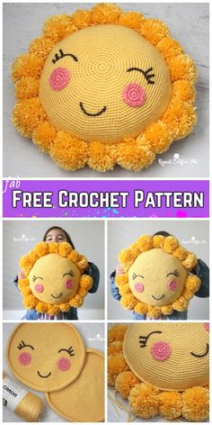 Crochet Pom Pom Sunshine Pillow Free Crochet Pattern for Kids. Crochet Pom Pom Sunshine Pillow Free Crochet Pattern for Kids. Crochet Pom Pom Sunshine Pillow Free Crochet Pattern for Kids Crochet Home, Crochet Gifts, Cute Crochet, Crochet For Kids, Crochet Baby, Knit Crochet, Crochet Pillow Pattern, Crochet Cushions, Amigurumi Patterns