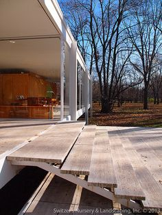 The Edith Farnsworth House by Ludwig Mies van der Rohe ~ Plano, Illinois Landscape Walls, Landscape Design, Casa Farnsworth, Ludwig Mies Van Der Rohe, Forest House, Mid Century House, Glass House, Alvar Aalto, Architecture Details