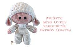 Muñeco Yoyo ovejita amigurumi.