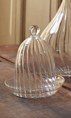fluted glass butter dish