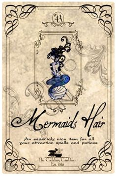 Mermaids-Hair-Label (a_granger) Tags: autumn halloween book magick label magic spell haunted labels apothecary cauldron charms potions spells potion cackling halloweendecorations curses spellbook hexes apothecarylabels potionlabels Halloween Apothecary Labels, Halloween Bottle Labels, Halloween Potions, Harry Potter Halloween, Halloween Books, Harry Potter Diy, Halloween Projects, Holidays Halloween, Halloween Decorations
