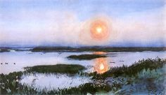 Sunset over Wetlands, vintage artwork by Julian Falat, Poster A4 Poster, Poster Prints, Vienna Secession, Art Academy, Vintage Artwork, Impressionist, Art Boards, The Dreamers, My Arts