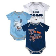Baby+Majestic+Detroit+Tigers+Baseball+Baby+3-Piece+Bodysuit+Set