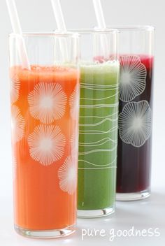 Carrot & Lemon, Cucumber Fennel, Green Ginger Ale, Creamy Greens, and Beet, Lemon & Ginger Juices